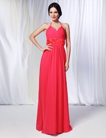 Watermelon Chiffon Bridesmaid Dress, Chiffon Halter Dress With Pleated Bust
