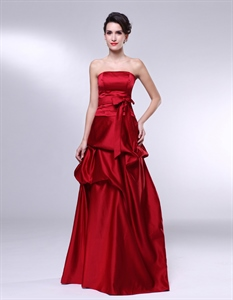 Floor Length Strapless Gown With Belted Waist, Red Satin Bridesmaid Dress