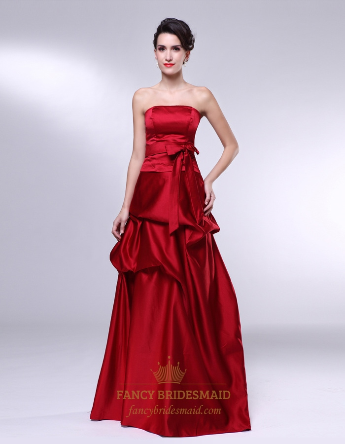 8b03152b4063 Floor Length Strapless Gown With Belted Waist, Red Satin Bridesmaid Dress