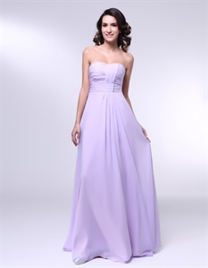 Chiffon A Line Strapless Dress With Pleated Bust, Lavender Chiffon Bridesmaid Dress