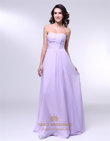 Chiffon A Line Strapless Dress With Pleated Bust, Lavender Chiffon Bridesmaid Dress