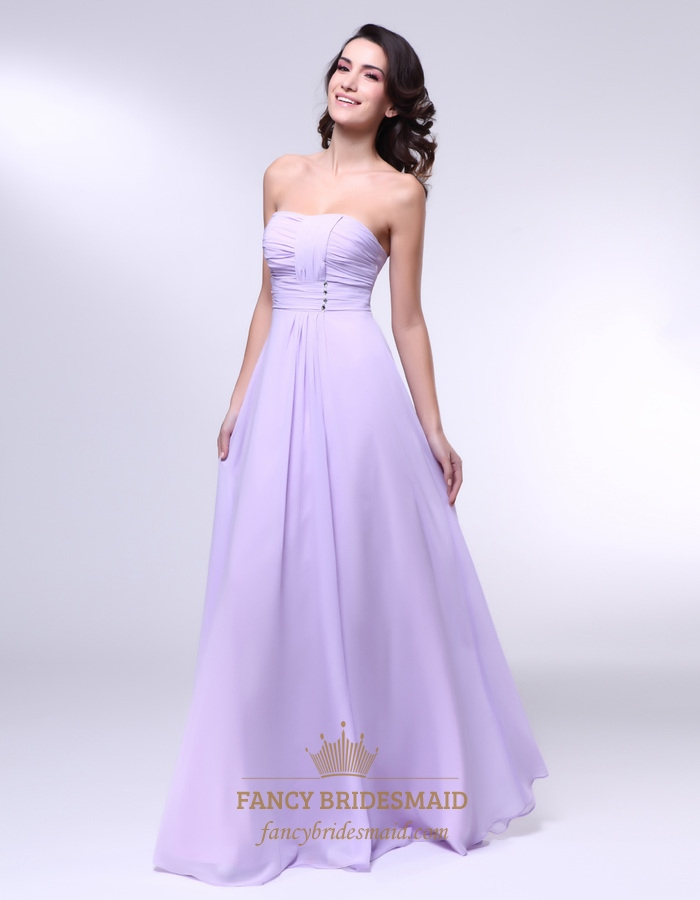 Chiffon A Line Strapless Dress With Pleated Bust, Lavender Chiffon ...
