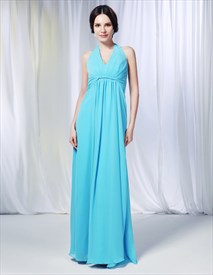A-Line Halter Chiffon Bridesmaid Dress, Aqua Chiffon Bridesmaid Dress