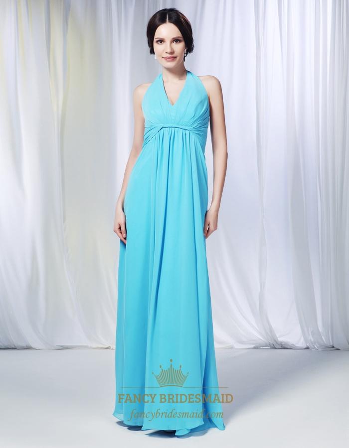 A-Line Halter Chiffon Bridesmaid Dress, Aqua Chiffon Bridesmaid Dress