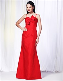 Red Mermaid Formal Dress, Taffeta Empire Waist Bridesmaid Dress