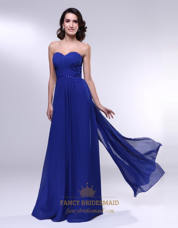 Royal Blue Chiffon Strapless Sweetheart Empire Waist Beaded Prom ...