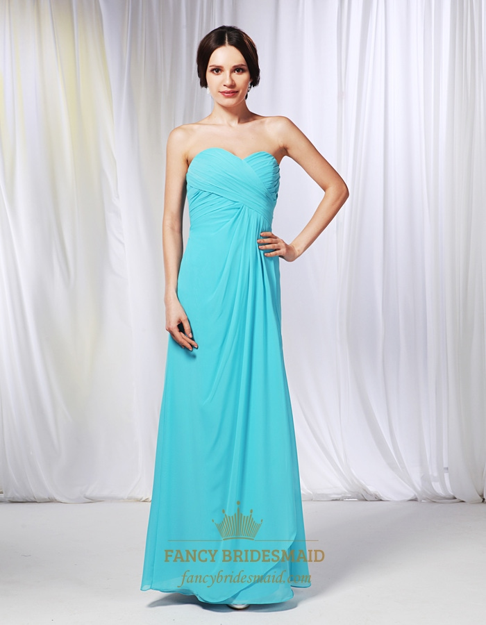 Aqua Blue Pleated Strapless Chiffon Empire Waist Long Bridesmaid Dress