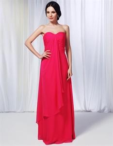 Hot Pink Chiffon Bridesmaid Dress, Chiffon Dress With Cascading Ruffle