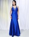Long V-Neck Royal Blue Prom Dress, Beaded Taffeta Mermaid Prom Dress