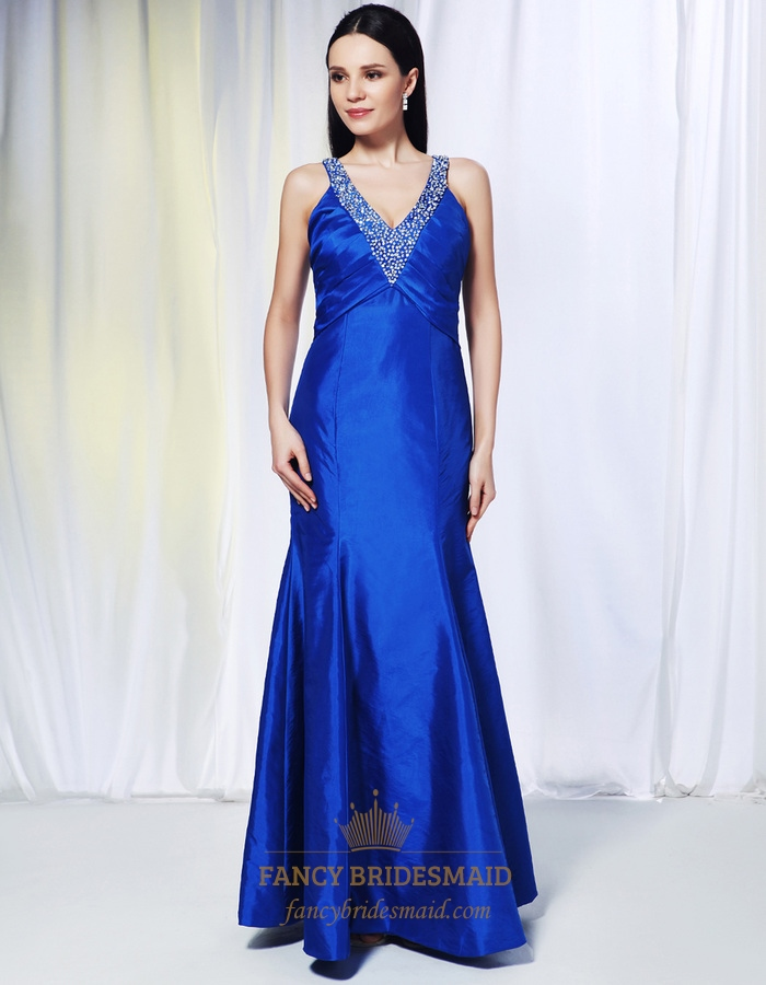 f74ffc3bfed Long V-Neck Royal Blue Prom Dress