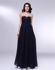 Black Empire Waist Bridesmaid Dress,Chiffon Strapless Bridesmaid Dress