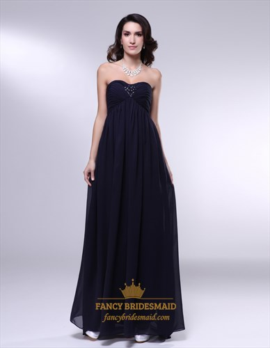 Black Empire Waist Bridesmaid Dress,Chiffon Strapless Bridesmaid Dress