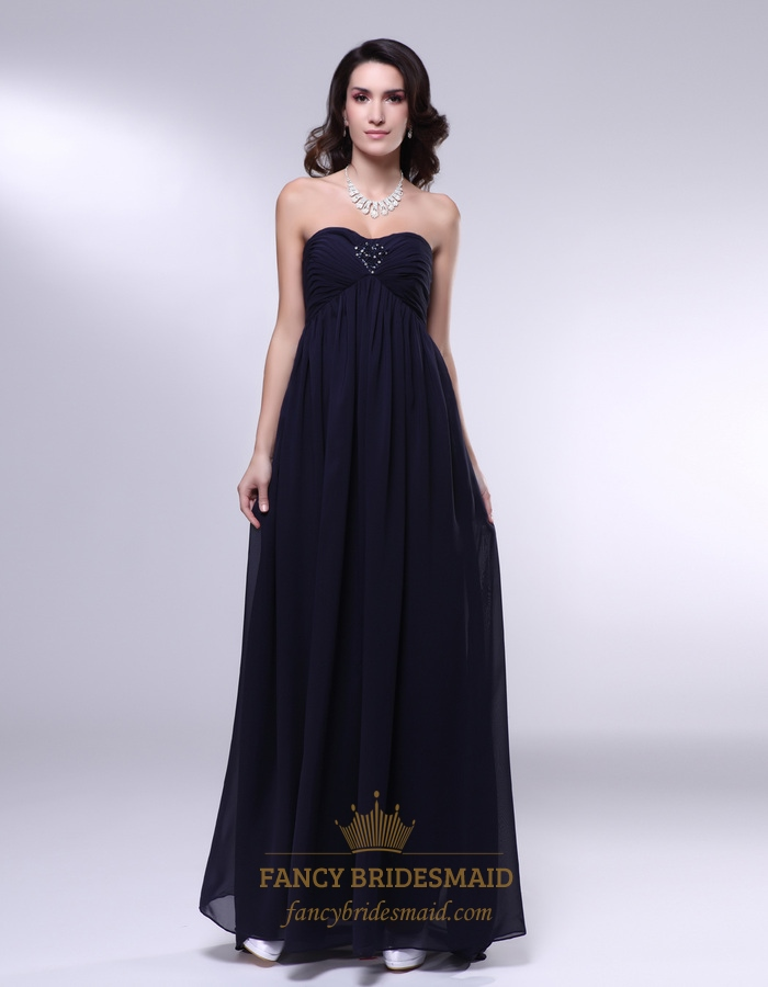 eccf10ff6090 Black Empire Waist Bridesmaid Dress,Chiffon Strapless Bridesmaid Dress