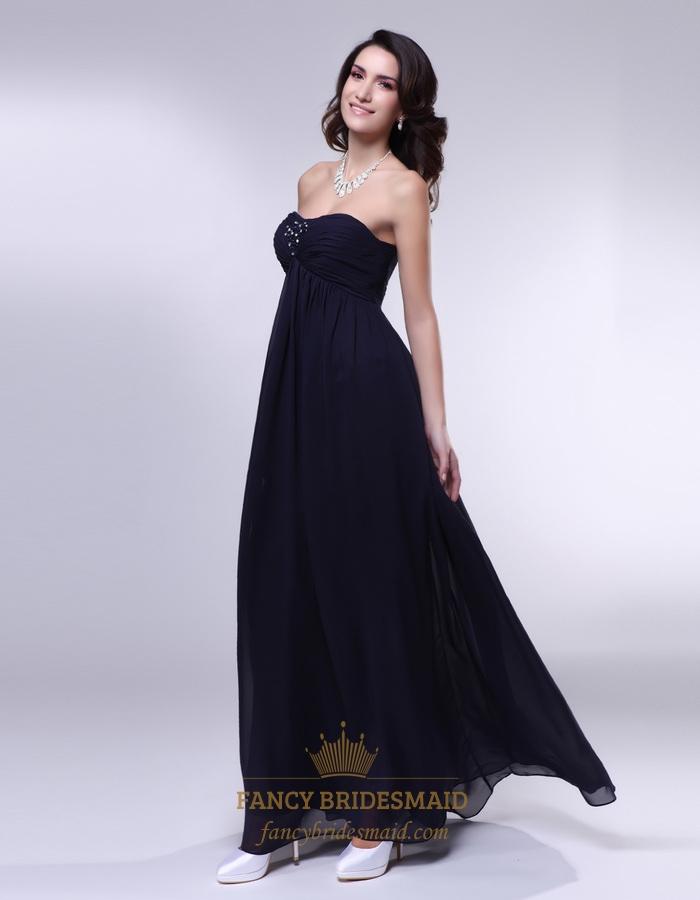 Black Empire Waist Bridesmaid Dress, Chiffon Strapless Bridesmaid ...