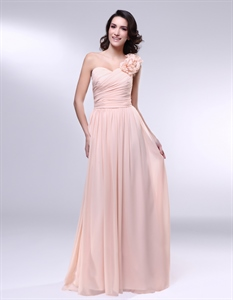 Chiffon Dress With Floral Detail And One Shoulder, Peach Bridesmaid Dress
