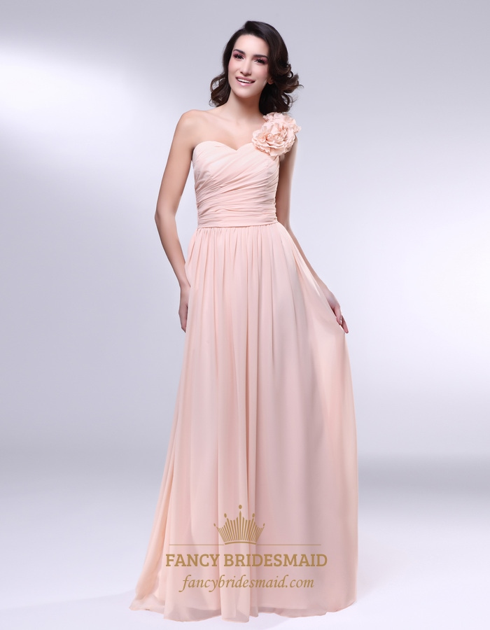 Chiffon Dress With Floral Detail And One Shoulder, Peach Bridesmaid ...