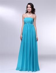 Strapless Chiffon Empire Waist Bridesmaid Dress,Aqua Blue Formal Dress
