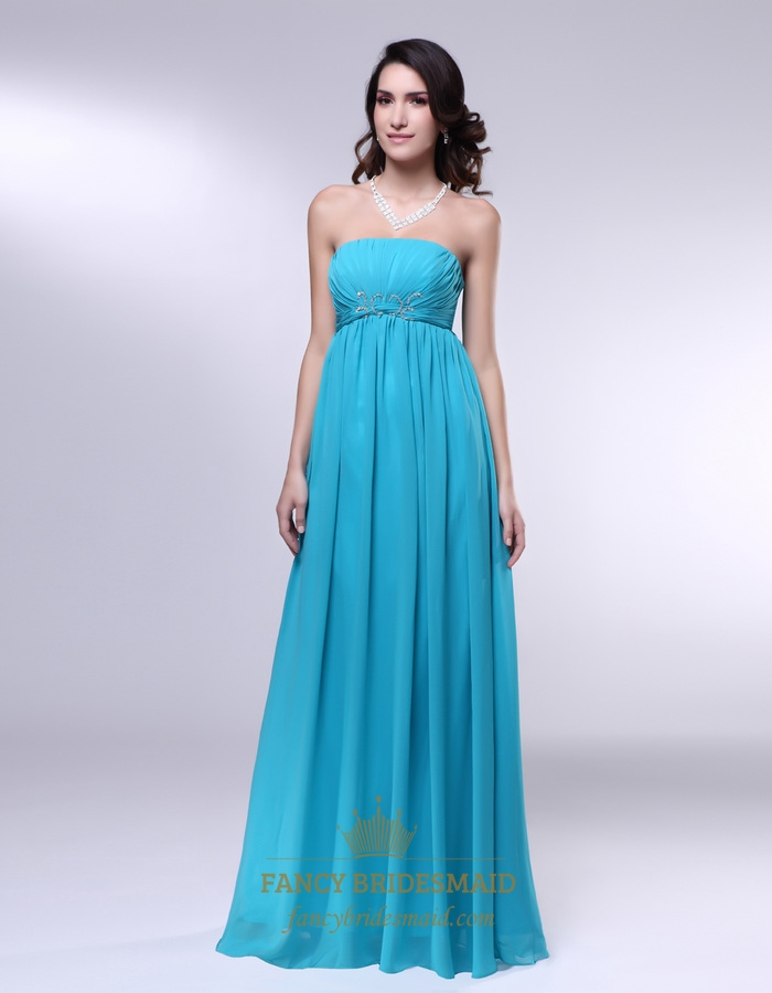 Strapless Chiffon Empire Waist Bridesmaid Dress, Aqua Blue Formal ...