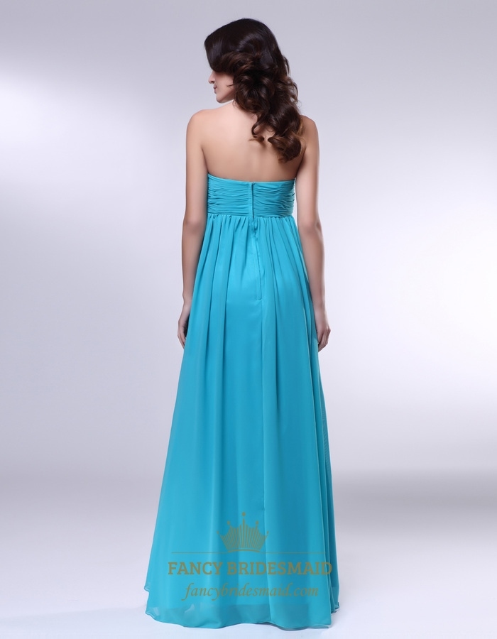 Strapless chiffon empire waist bridesmaid dress aqua blue for Aqua blue dress for wedding