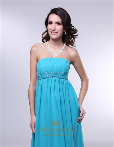 Strapless Chiffon Empire Waist Bridesmaid Dress,Aqua Blue Formal Dress