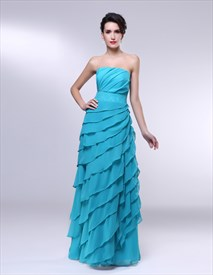 Strapless Chiffon Dress With Ruffle Detail, Ruffle Chiffon Prom Dress