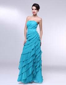 Strapless Organza Dress With Ruffled Skirt, Organza Ruffle Prom Dress