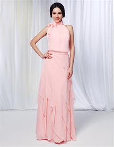 High Neck Chiffon Prom Dress,Chiffon Dress With Cascading Ruffle Skirt