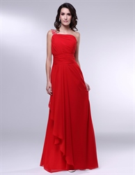 Red Chiffon One Shoulder Ruffle Dress, Red One Shoulder Prom Dress