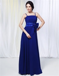 Chiffon Spaghetti Strap Bridesmaid Dress, Royal Blue Chiffon Bridesmaid Dresses