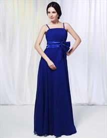 Chiffon Spaghetti Strap Bridesmaid Dress, Royal Blue Chiffon Bridesmaid Dresses