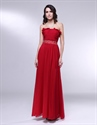 Burgundy Chiffon Bridesmaid Dresses, Strapless Chiffon Prom Dress