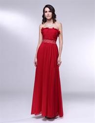Burgundy Chiffon Bridesmaid Dresses, Strapless Chiffon Prom Dress