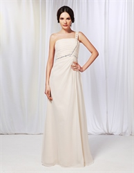 Champagne Chiffon Bridesmaid Dress, One Shoulder Draped Prom Dress