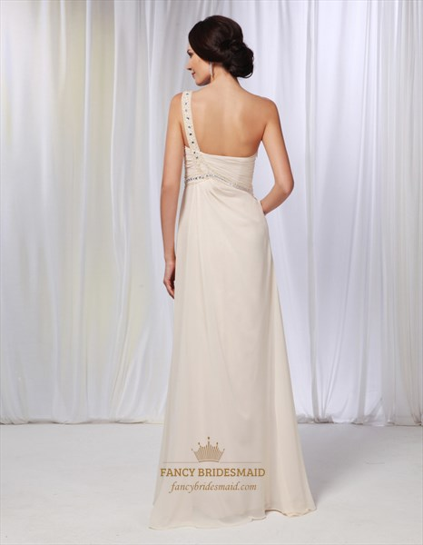 Champagne Chiffon Bridesmaid Dress, One Shoulder Draped Prom Dress