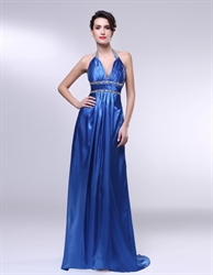 V-Neck Beaded Waist Princess Dress, Royal Blue Halter Prom Dress