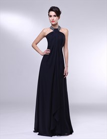 Long Black High Neck Chiffon Encrusted Halter Empire Waist Prom Dress