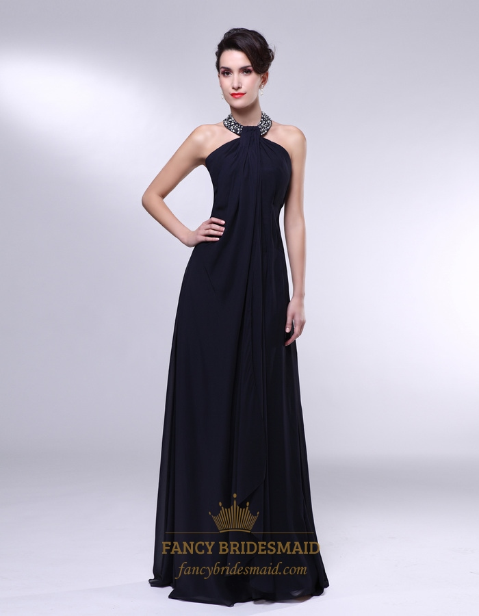 1a7feb0575f47 High Neck Chiffon Prom Dress, Black Chiffon Encrusted Halter Empire ...