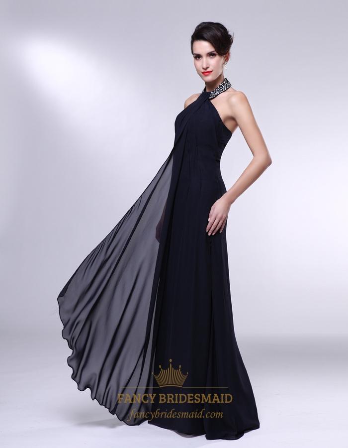 High neck chiffon prom dress black chiffon encrusted for Halter empire waist wedding dresses