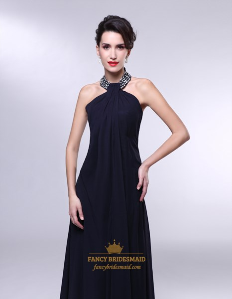 7d89cd2de1e1 High Neck Chiffon Prom Dress, Black Chiffon Encrusted Halter Empire ...