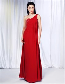 One Shoulder Chiffon Gown With Side Drape, Red Chiffon Formal Dress