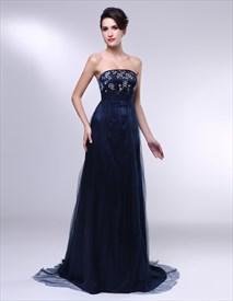 Dark Blue Strapless Prom Dress, Embroidered Prom Dresses UK