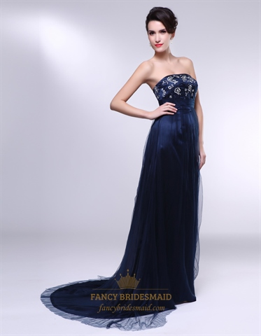 Dark Blue Strapless Prom Dress, Embroidered Prom Dresses UK