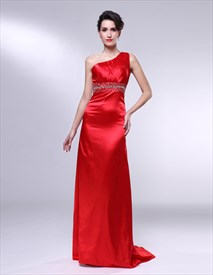 Red One Shoulder Prom Dresses, Sheath One Shoulder Floor-Length Dress
