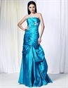 Aqua Blue Mermaid Prom Dresses, Strapless Satin Ballgown With Pick-up