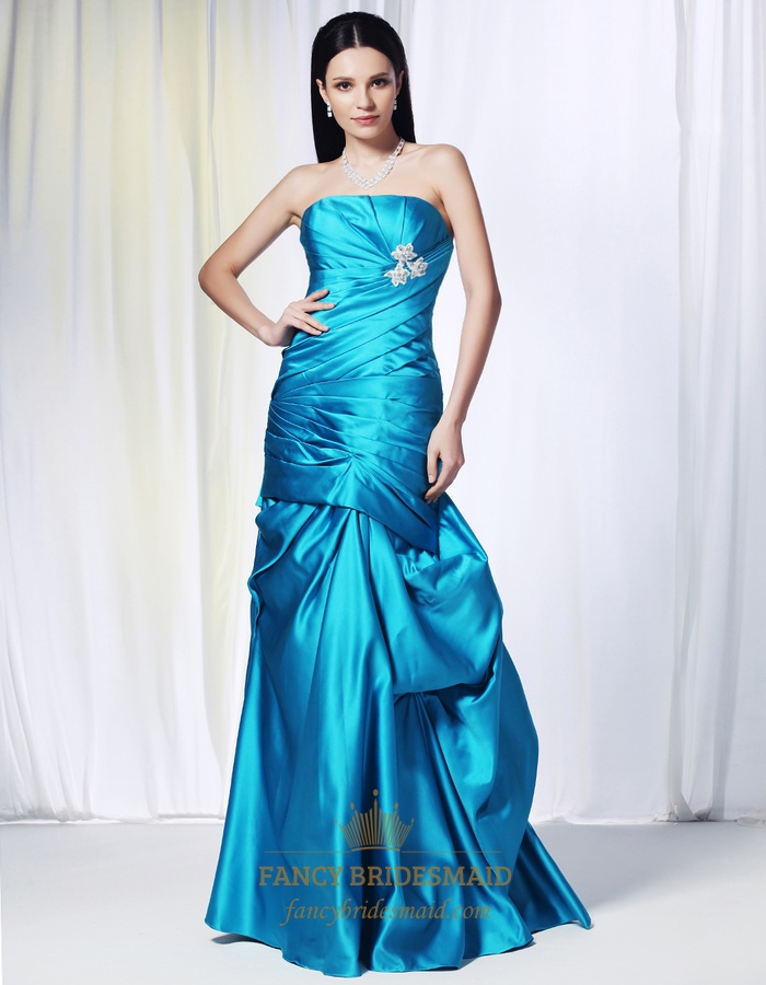 Aqua Blue Mermaid Prom Dresses, Strapless Satin Ballgown With Pick-up
