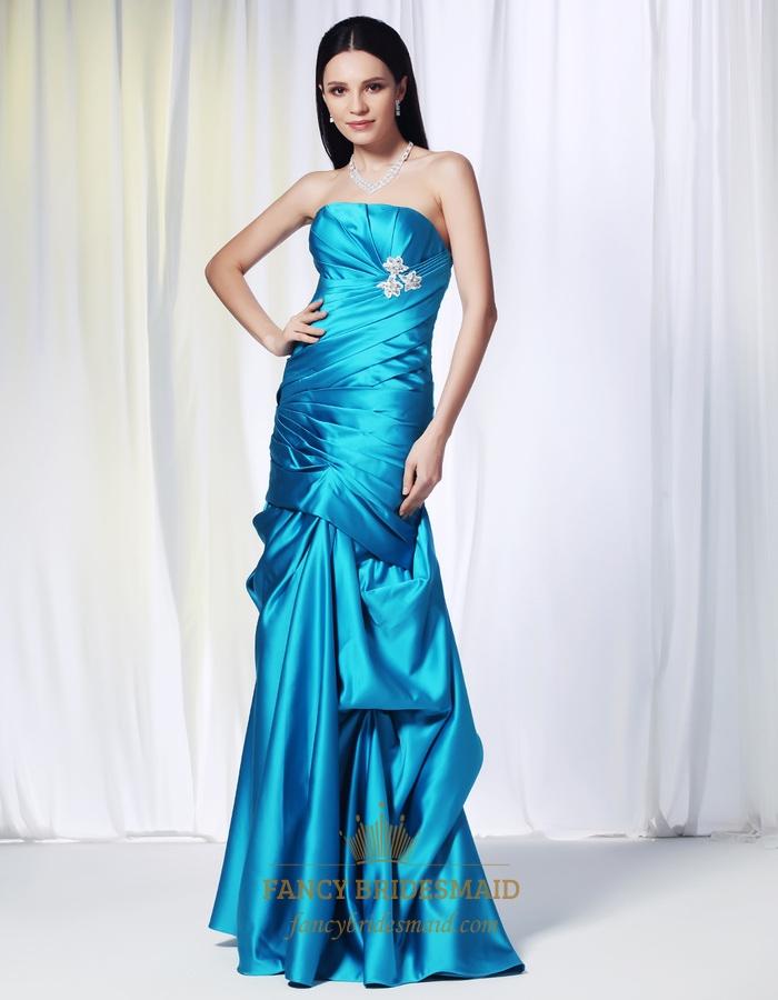 Aqua Blue Mermaid Prom Dresses, Strapless Satin Ballgown With Pick ...