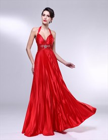 Deep V-neck  Red Beaded Halter Gradient Color Long Prom Dresses