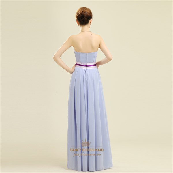 Short Strapless Chiffon Bridesmaid Dress, Lilac Short Bridesmaid Dress