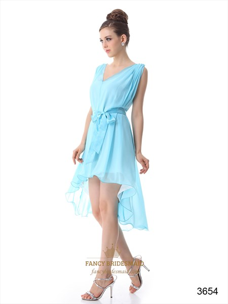 Chiffon High Low Cocktail Dress, V Neck Chiffon Formal Dress