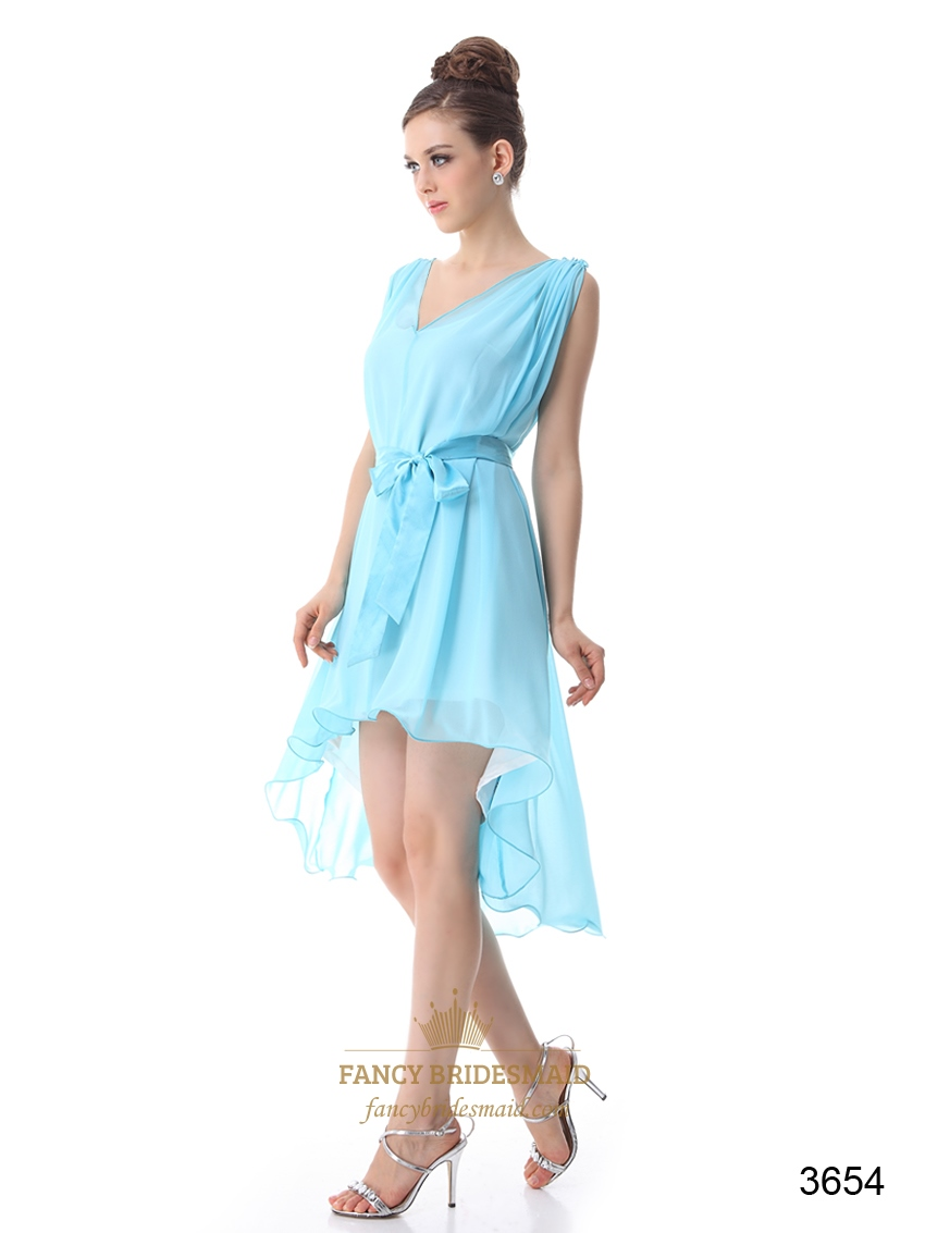Chiffon High Low Cocktail Dress, V Neck Chiffon Formal Dress | Fancy ...